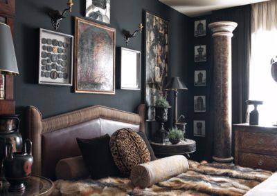dormitorio, cama, lujo, columna mármol
