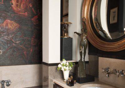 baño, espejo, cuadro, bronce