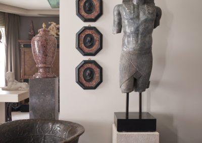 decoración, escultura, egipcio, medallones mármol, aplique