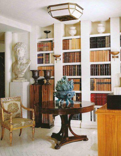 librería, busto clásico, muebles imperio, lujo
