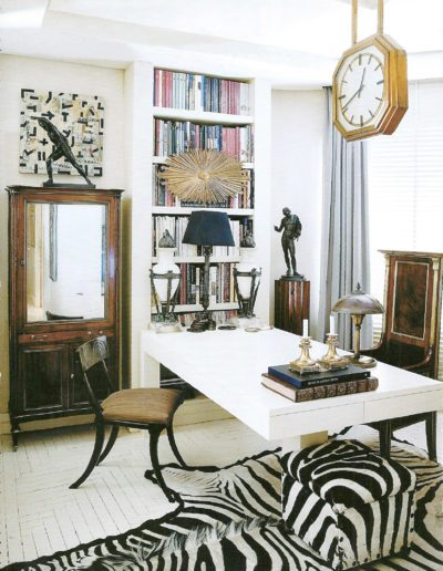 decoración ecléctica, despacho, mesa