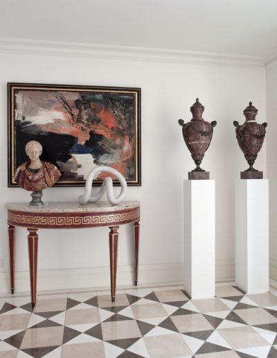 hall, suelo mármol, decoración, antigúedades