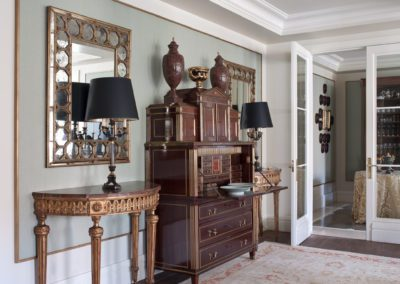 salón, clásico, espejos, consola