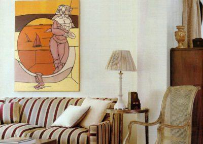 salón, lujo, decoración, cuadro