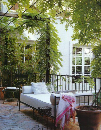 jardín, sofá, pérgola