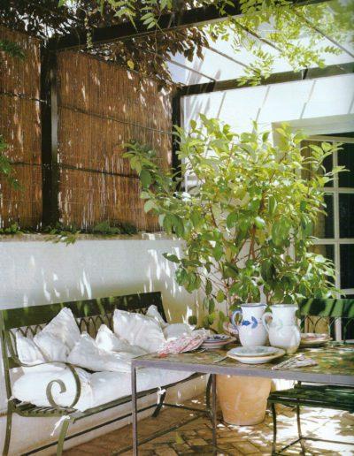 jardín, comedor, pérgola