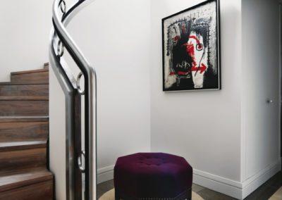 escalera, metal, pouf, mármol, arquitectura interior