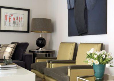 decoración, cuadro, sillas, mesa laca