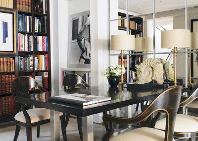 librería, comedor, sillas, espejo, arquitectura interior