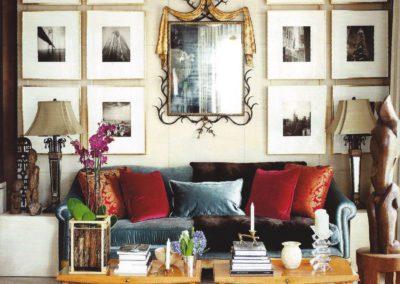 salón, sofá, espejo, decoración, pared pergamino