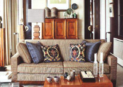 salón, sofá, pared pergamino, muebles 1930`s