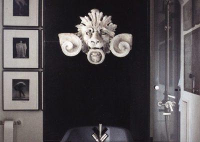 baño, decoración, escultura piedra