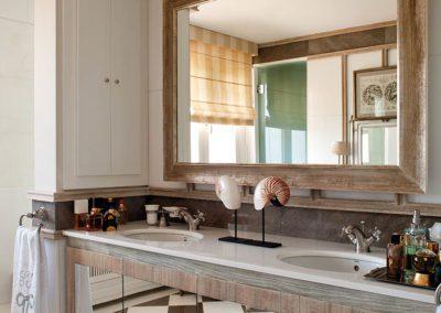 baño, mármol, madera, espejo