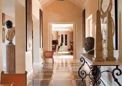pasillo, decoración, suelo mármol, obelisco, hierro forjado