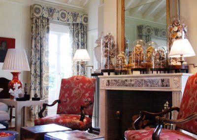 chimenea, espejo, butacas, decoración, casa campo