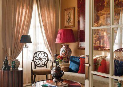 salón, chinoiserie, sofá, silla, decoración