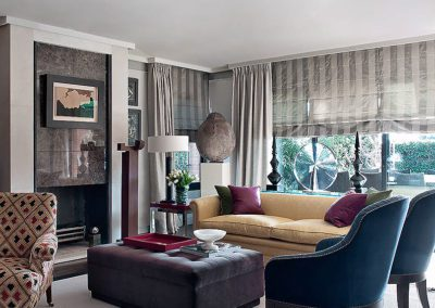 salón, contemporáneo, chimenea mármol