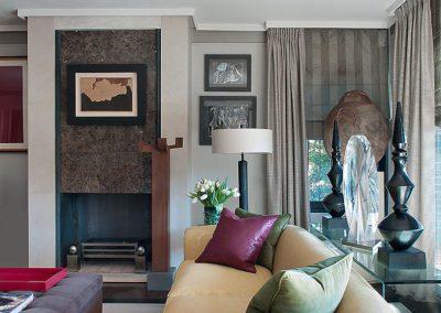 salón, decoración, contemporáneo, chimenea mármol