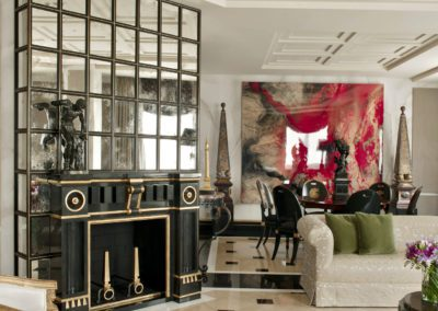 salón, chimenea, mármol, lujo contemporáneo