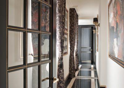 pasillo, carpintería, suelo mármol, decoración