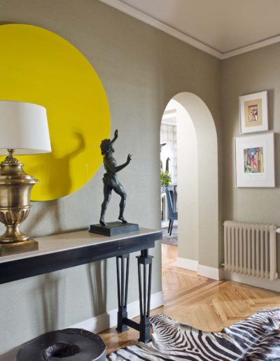 hall, bronce, consola, escultura, papel pared
