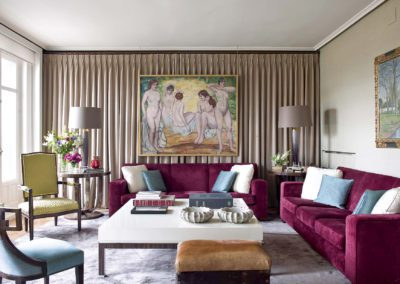 salón, decoración, cortinas, cuadro