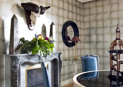 comedor, decoración, chimenea, sillas, mesa