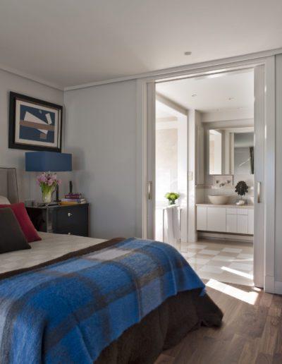 dormitorio, baño,  decoración, cama