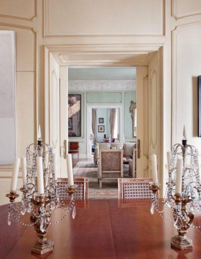 comedor, decoración clásica, pintura contemporánea