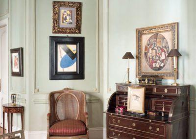 decoración clásica, pintura moderna, mueble francés