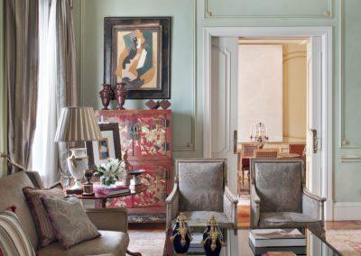 salón, decoración, butacas, mueble chino