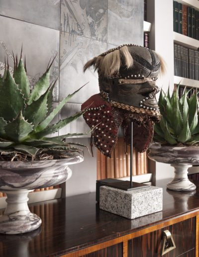 decoración, máscara africana, copas mármol
