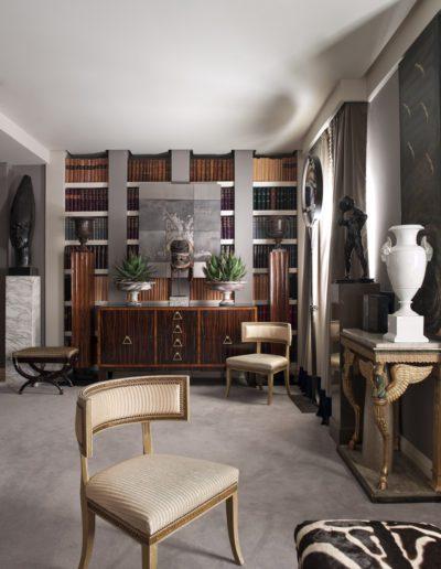librería, silla gustaviana, consola imperio