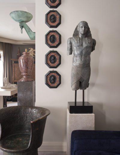 escultura, egipcio, medallones mármol, aplique
