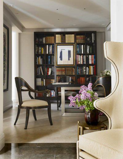 librería, decoración, silla orejera