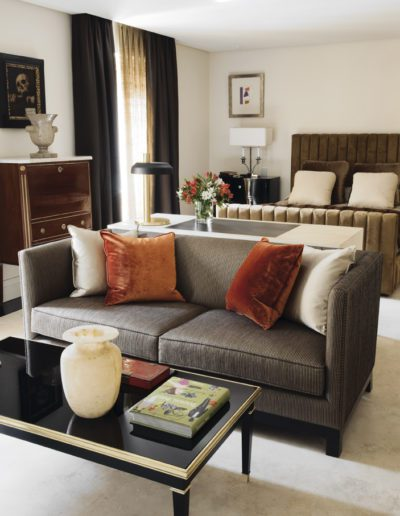 dormitorio, decoración, sofá, cama, sofisticación