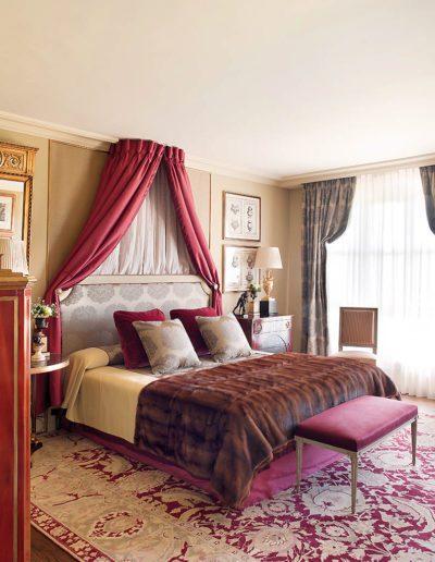 dormitorio, clásico, lujo, telas, dosel