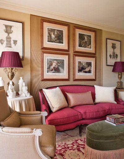 salón, decoración, clásico, grabados, porcelana