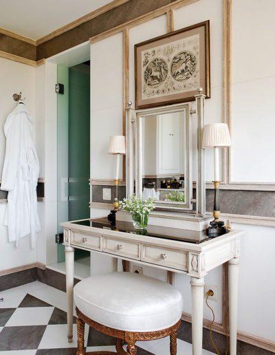 baño, decoración, clásico, tocador