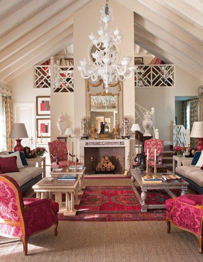 salón, chimenea, decoración, lujo, casa campo