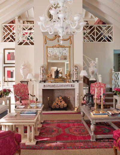 salón, decoración, chimenea, lujo, casa campo