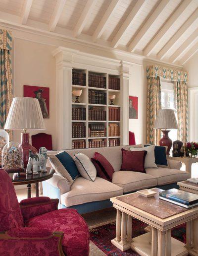 salón, sofá, librería, casa campo