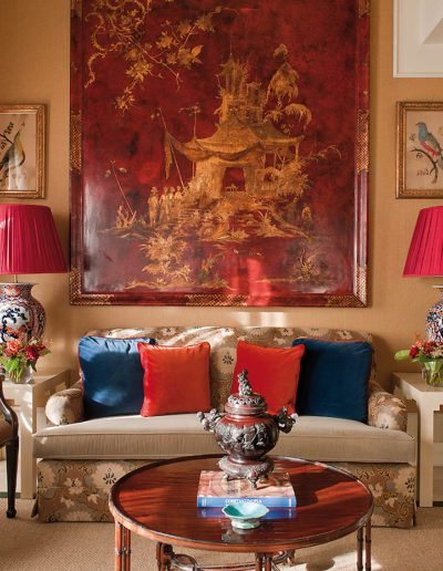 salón, sofá, chinoiserie, decoración