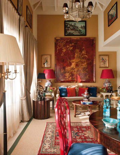 salón, chinoiserie, silla, decoración