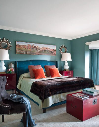 dormitorio, cama, cabecero, decoración, telas