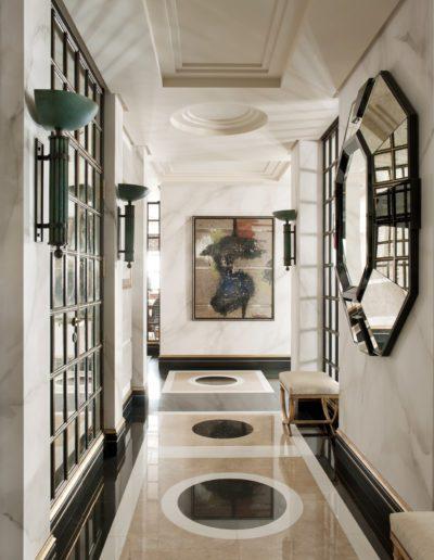hall, suelos mármol, lujo, contemporáneo, espejos