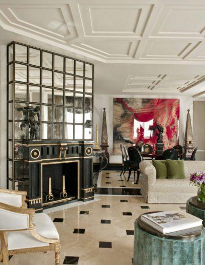 salón, chimenea, mármol, lujo, contemporáneo