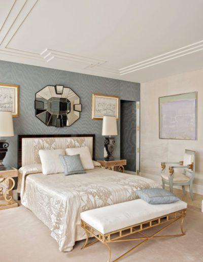 dormitorio, decoración, estilo 1930, espejo