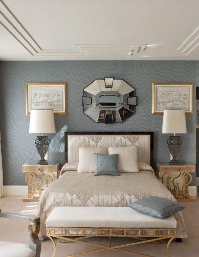 dormitorio, decoración, estilo-1930s, espejo