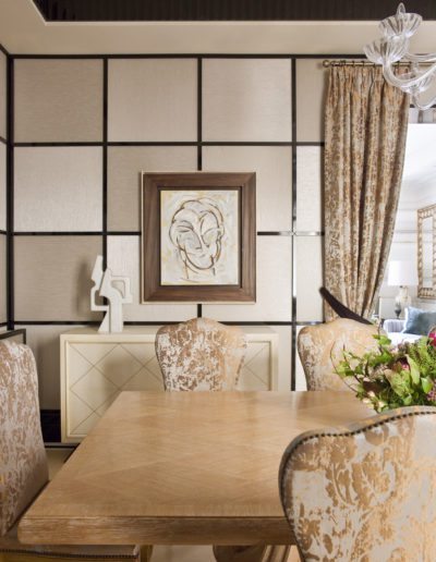 Comedor, dining room, sophisticated, interior design, decoración, wallpaper, pintura Rafael Canogar